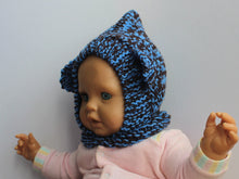 Load image into Gallery viewer, SALE BEAR BALACLAVA blue & brown