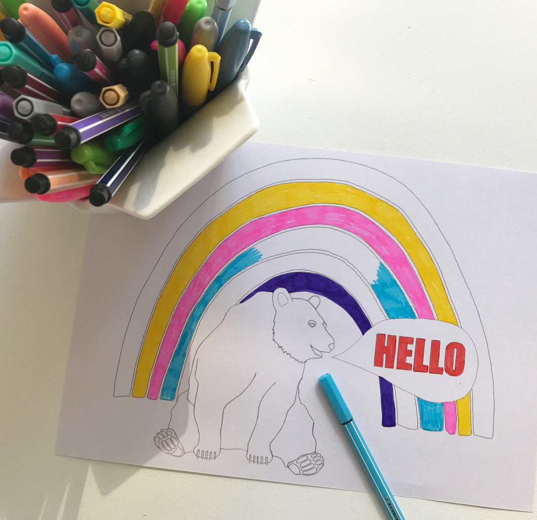 Z A FREE DOWNLOAD Rainbow coloring page