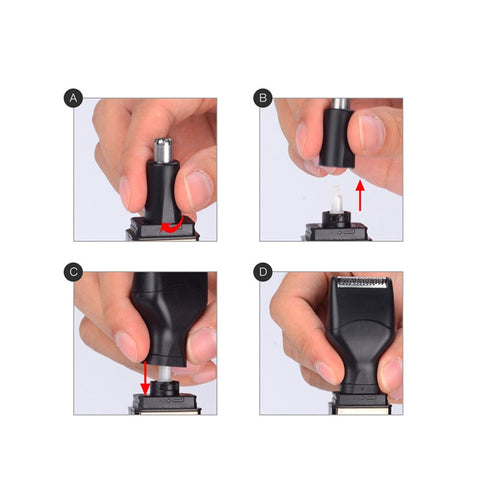 4 in 1 Rechargeable Shavers Nose Ear Hair Trimmer Beard Trimer for Men Eyebrow Sideburns Hair Removal Razor Cutter for Men