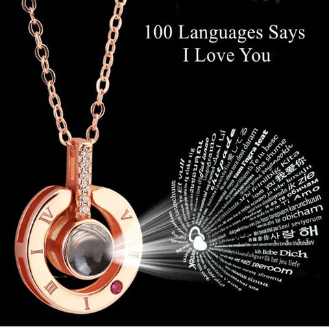 100 Languages Says I love You Projection Necklace Valentines