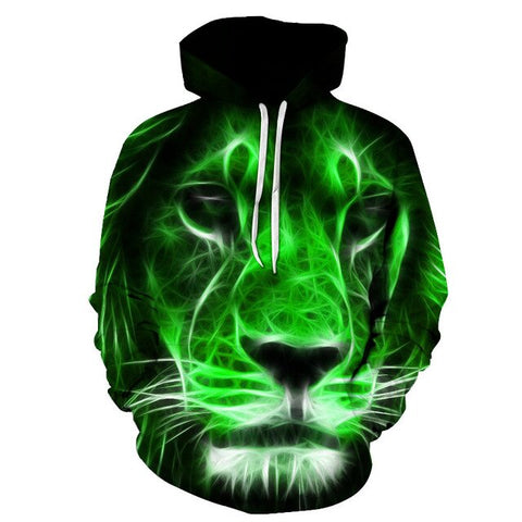 2019 Animal print hooded Sweatshirts Purple green yellow Lion head 3D Hoodie Female Male Autumn Pullover Xxxtentacion Tracksuit