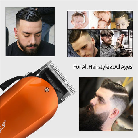 Ckeyin 220-240V Household Trimmer Professional Classic Haircut Corded Clipper for Men Cutting Machine with 4 Attachment Combs 40