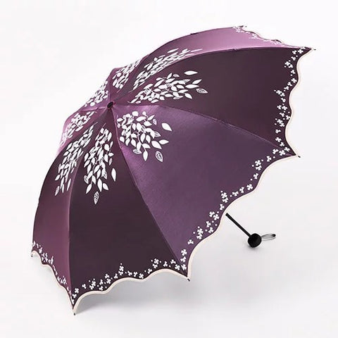 Quality Sun Umbrella Rain Women Fashion Princess Leaves Double Umbrellas Female Parasol Portable Creative Female Gift