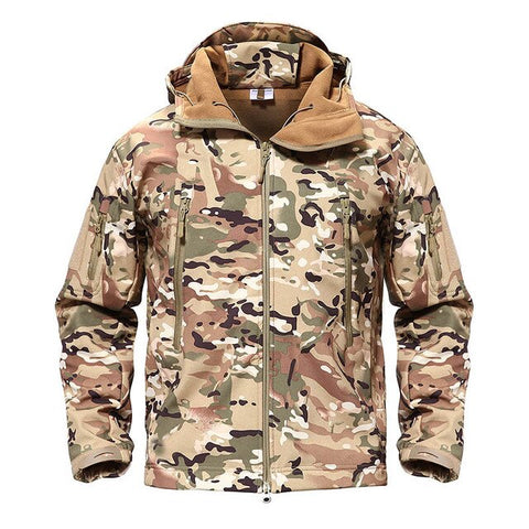 TACVASEN Army Camouflage Airsoft Jacket Men Military Tactical Jacket Winter Waterproof Softshell Jacket Windbreaker Hunt Clothes