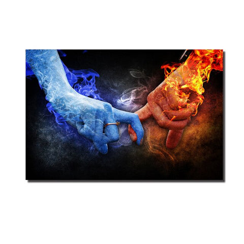 Ice and Fire Hand Canvas