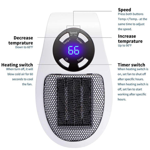 350W Ceramic Handy Wall-Outlet Space Heater Plug-in Portable