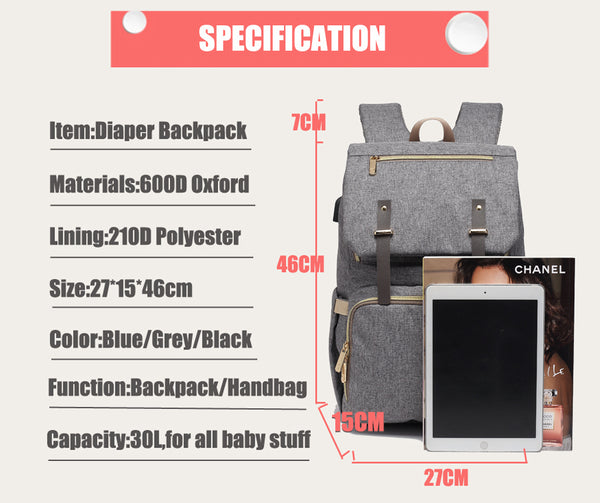 Mummy Daddy Diaper Bag, USB Baby Nappy Backpack Large Capacity, Laptop Bag Rechargeable