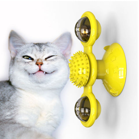 Toys For Cats Puzzle Whirling Turntable With Brush Cat Play Game Toys Windmill Kitten Interactive Toys Cat Supplies