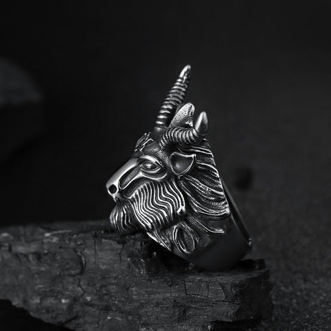 Fashion Big Sheep Goat Horn Head Ring Satan Worship Baphomet Aries Zodiac Wicca Star For Men Unique Biker Punk Animal Jewelry