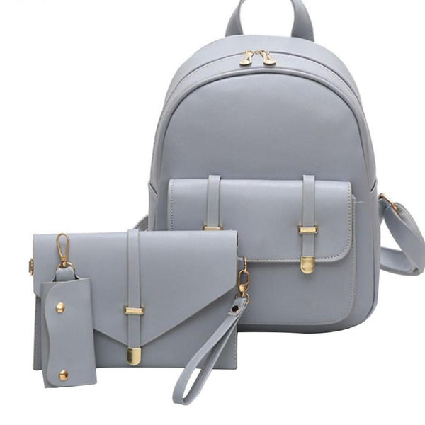 3pcs/Set Leather Women Backpack