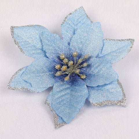 5pcs Glitter Artificial Flowers Christmas Tree Decor