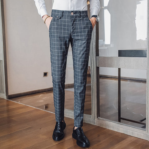 Men's Striped Plaid Pants