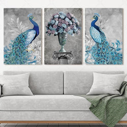 Peacock and Flower Nature Canvas
