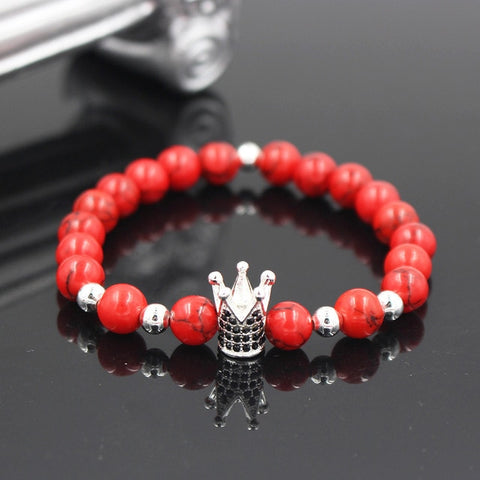 Red King Crown Charm Bracelet