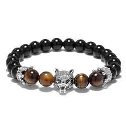 Wolf Head Double Crown Bracelet