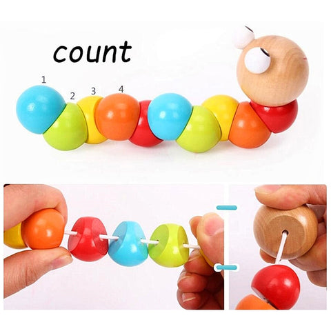 Montessori Toys Educational Wooden Toys for Children Early Learning Baby Exercise Fingers Flexible Twist Insects Games