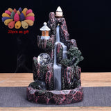 LED Waterfall Backflow Incense Burner Glowing Ball And 20Pcs Incense Cones Home Incense Holder