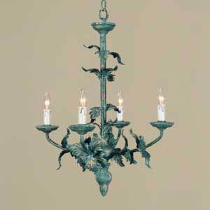 One-Tier Green Leaf Chandelier