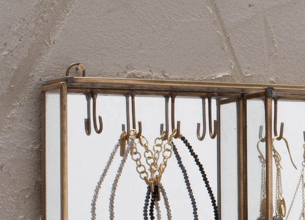Wall Hung Jewellery Box in Antique Brass