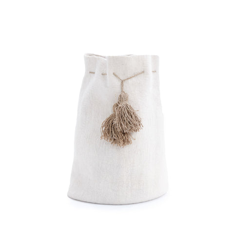 High Calabash with Pompons - White