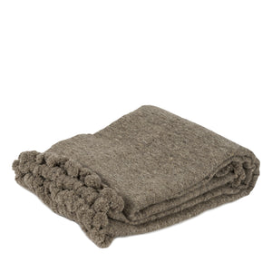 Brown hand loomed woolen blanket with pom pom