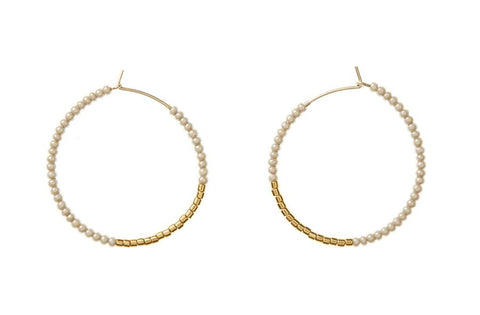 Small Hoop Earrings - Taupe & Gold