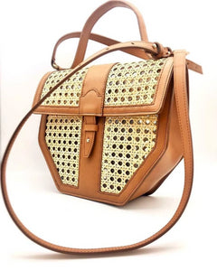 Tweegy bag leather and natural rattan