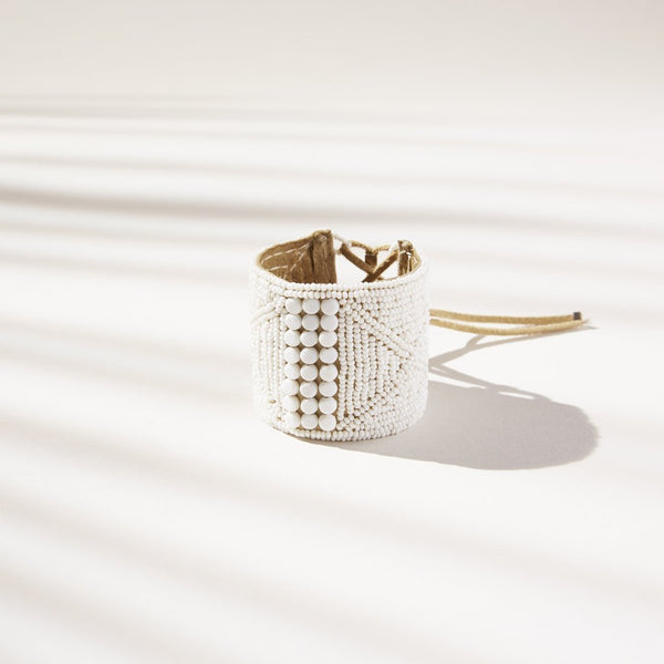 Leather Bracelet Cuff White