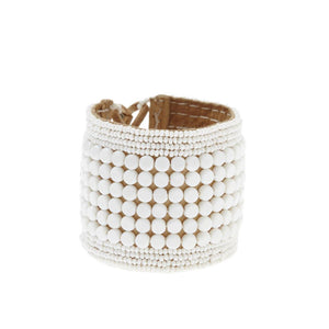 Leather Multi Stripe Bracelet Cuff White