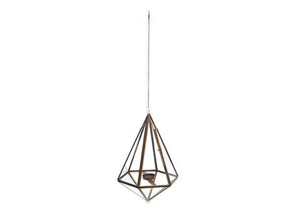 Hanging Lantern in Antique Brass - Large