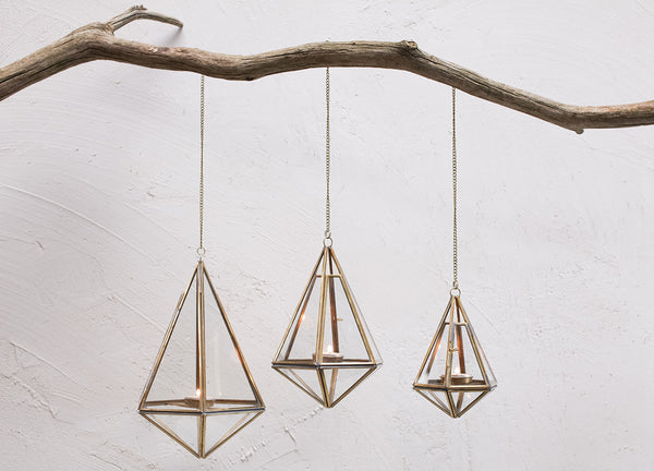 Hanging Lantern in Antique Brass - Medium