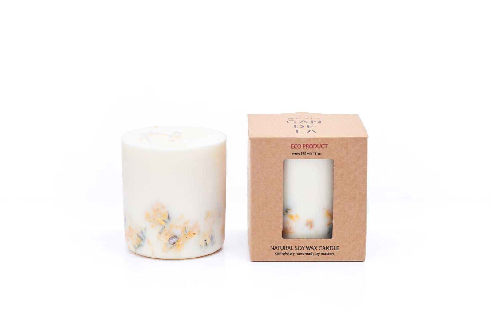 Marigold Flower Candle Munio Candela with packaging