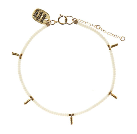 5 Drop Kisongo Bracelet - Off White & Gold