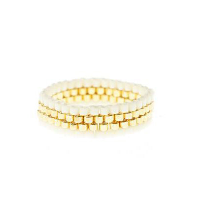 4 Line Woven Ring - Cream & Gold
