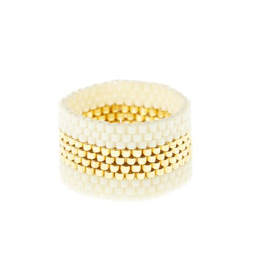 Wide Woven Gold Stripe Ring - Cream & Gold