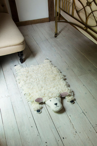 sheep rug felt sew heart felt next to bed