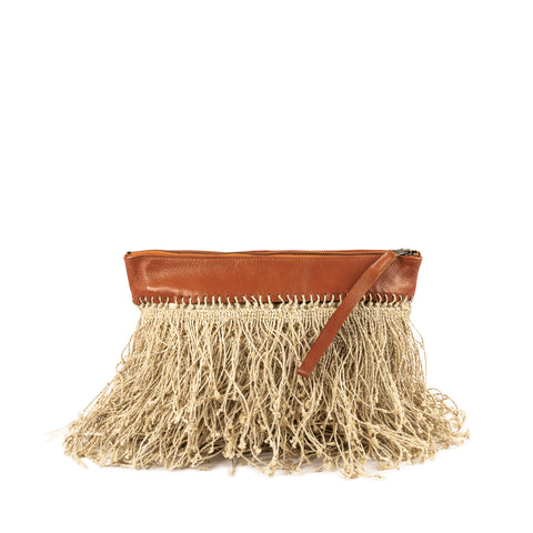 Boho clutch with jute fringes