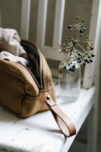 Jute Canvas Toiletry Bag - Camel