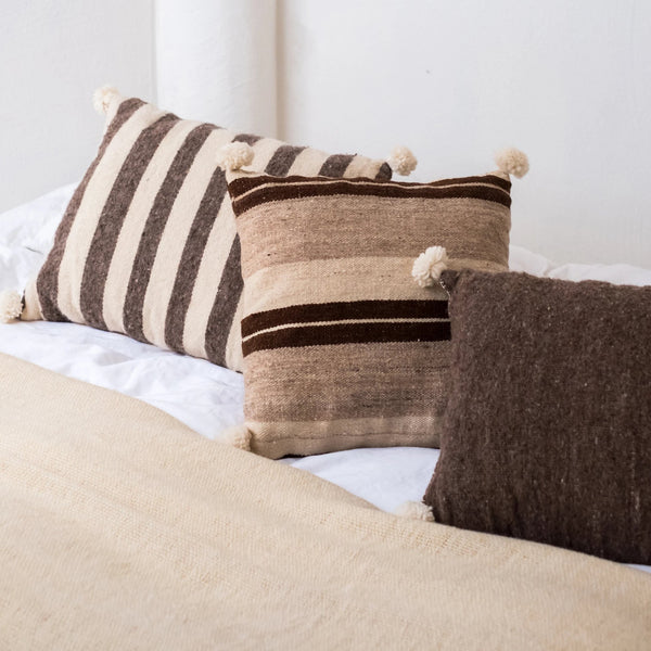 Striped cushion brown and white