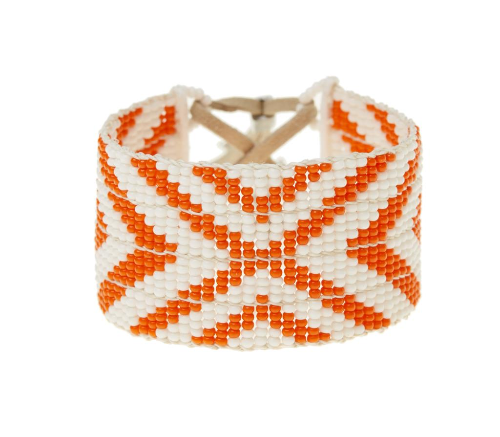 Warrior Bracelet - Orange & White