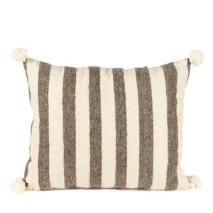 Stripe cushion with pom pom
