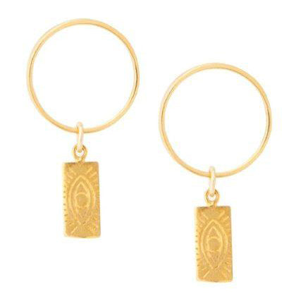Tag Round Earrings Gold Plated
