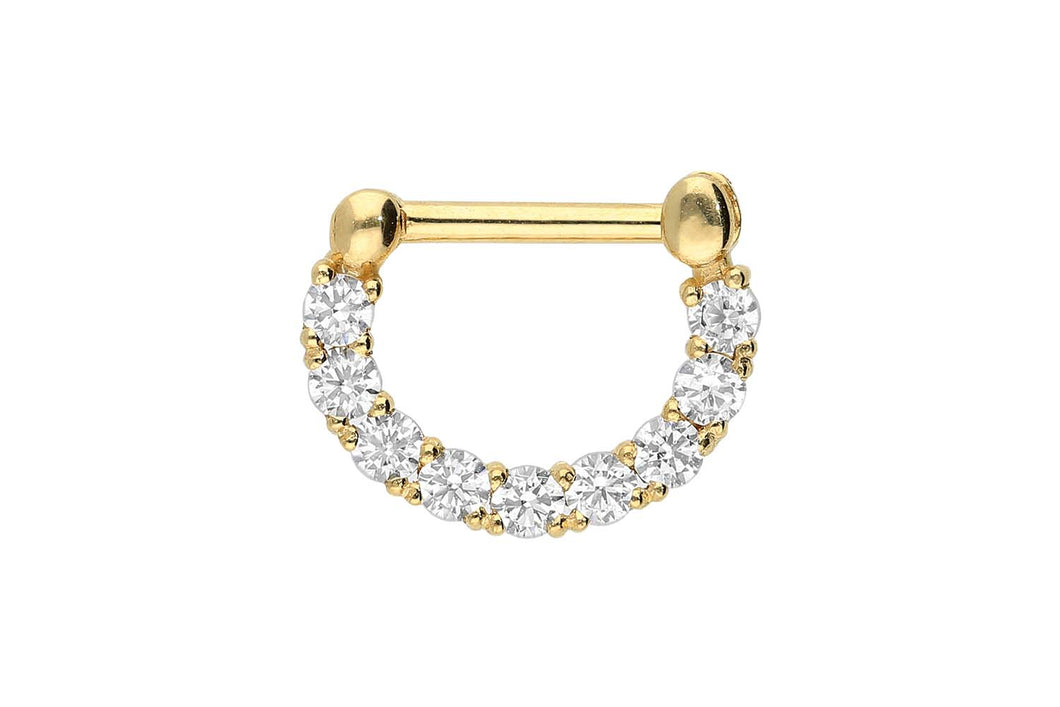 18 Karat Gold Clicker Ring 9 Kristalle Schranke Septum piercinginspiration®