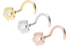 Laden Sie das Bild in den Galerie-Viewer, 18 Karat Gold Kleine Blume Kristall Nasenstecker Spirale piercinginspiration®