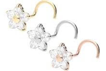 Upload the image to the gallery viewer, 18 carat gold flower crystal nose stud spiral piercinginspiration®