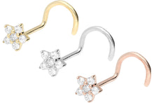 Upload the image to the Gallery Viewer, 18k Gold Small Flower Crystal Nose Stud Spiral piercinginspiration®