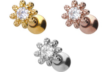 Upload the image to the gallery viewer, 18k gold flower crystal ear piercing barbell piercinginspiration®