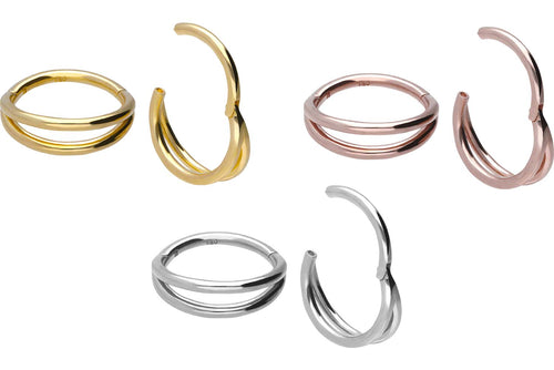 18 Karat Gold Clicker Ring Doppel Ring piercinginspiration®