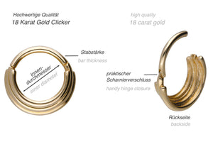 18k gold triple clicker ring piercinginspiration®
