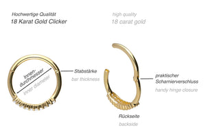 18 carat gold clicker ring double multiple balls crystals piercinginspiration®